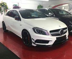 """The first of three AMG A45's to be arriving over the coming days this won't be here long!  RS Direct Are Pleased To Offer Another Big Specification Mercedes AMG A45 Over 11000 Of Extras To Include Aerodynamics Package With Larger Front Splitter And Additional """"Flics"""" And Rear Spoiler (Has Red Tips Rather Than The Standard Black From This Package) Red Brake Calipers Amg Performance Exhaust Amg Exclusive Package - Heated Front Seats Upgrade From Half Leather To Full Leather Interior On All…"""