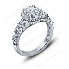 Disney Engagement Wedding Sim Diamond Ring in 14k White Gold Finish 925 Silver…