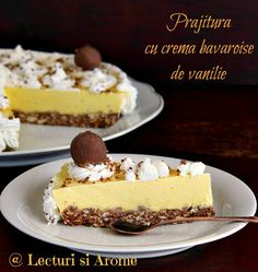 Prajitura cu crema bavareza de vanilie este o prajitura simplu de facut si foarte gustoasa. Are un blat din biscuiti, facut la rece si o crema de vanilie. Romanian Desserts, Romanian Food, Sweet Recipes, Cake Recipes, Dessert Recipes, Cake Shop, Fall Desserts, Love Cake, Food Plating