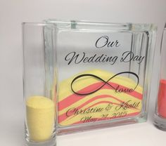 Unity Sand Ceremony Set with Lid - Sand Included - Our Wedding Day with Infinite Love Symbol