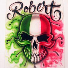 Viciouz Airbrush Designs - Mexican Flag Skull Airbrush shirt, $20.00 (http://viciouzairbrush.com/mexican-flag-skull-airbrush-shirt/)