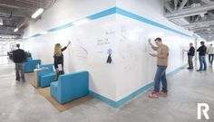 Learn all you need to know about using whiteboard paint! Tips for using dry erase paint, popular whiteboard paint options, what you'll need, ideas and more! Workspace Design, Office Workspace, Office Interior Design, Office Interiors, Dry Erase Wall Calendar, Dry Erase Whiteboard, Open Office, Cool Office, Home Office Design