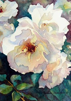 """Victorian Roses by Yvonne Hemingway Watercolor ~ 10"""" x 8"""" Framed"""