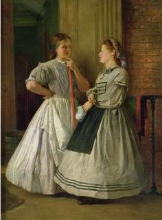1865 painting.Maids of all work. Note they are wearing hoops.