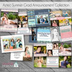 Items similar to Aztec Summer Graduation Announcement COLLECTION- 5 custom photo templates for photographers and trifold on Etsy