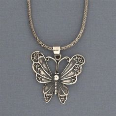 Butterfly Pendant Sterling Silver  Charm Necklace Jewelry Rocker Punk Gothic #YouniqueJewelry #Pendant