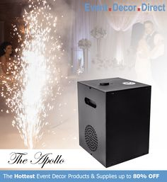 Event Decor Direct's The Apollo Cool Sparkler Machine is perfect to lighten up weddings and special events. Safe for use indoors and outdoors. This flame-less spark machine can shoot sparks up to 16 FT and an excellent alternative to fireworks. Buy Now at EventDecorDirect.com Event Decor Direct, Spark Up, Wedding Champagne Flutes, Exit Sign, Kids Decor, Home Decor, Wedding Events, Weddings, Sparklers