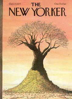 Robert Weber : Cover art for The New Yorker 2748 - 17 October 1977 The New Yorker, New Yorker Covers, Robert Weber, Vintage Illustration Art, Magazine Art, Magazine Covers, Autumn Scenes, Bare Tree, One Dollar