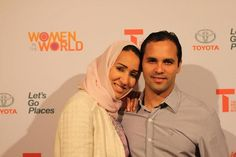 Manal al-Sharif, Saudi driving and women's rights activist with her Brazilian husband Raphael. (He converted to Islam when they married in 2012).