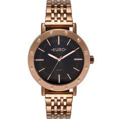 O relógio prateado feminino Euro é da coleção Spike Fever Casual. Ele tem  banho f102bf67e4