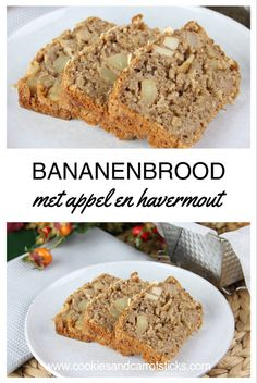 Banana bread with apple and oats - Cookies & Carrot Sticks Gluten Free Donuts, Gluten Free Pumpkin, Healthy Sweets, Healthy Baking, Healthy Food, Apple Banana Bread, Recipes Using Bananas, Low Carb Recipes, Snack Recipes