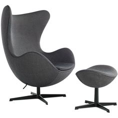 Arne Jacobsen Egg Chair in Basel Fabric (63 170 SEK) ❤ liked on Polyvore featuring home, furniture, chairs, black and white chair, swivel chair, set of 2 chairs, molded chair and modern swivel chair