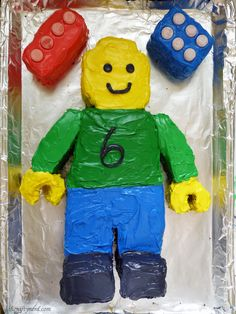 Lego Man Birthday Cake Tutorial via The Nifty Nerd Birthday Cakes For Men, Geek Birthday, Lego Birthday Party, Birthday Ideas, 10th Birthday, Birthday Parties, Lego Man Cake, Easy Lego Cake, Superhero Cake
