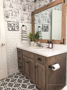 Now you can reapply your hardware, or put on the new hardware- if your are updating it. Painted Vanity, Boys Bathroom Decor, Distressed Wood Furniture, Faux Wood, Staining Cabinets, Faux Wood Paint, Painted Vanity Bathroom, Bathrooms Remodel, Wood Bathroom