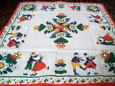 Vintage Swedish Tablecloth Dutch Couple by VintagePlusCrafts, $10.50