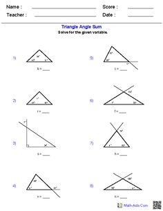 angles of a triangle for grade - Yahoo Image Search Results Angles Worksheet, Triangle Worksheet, Geometry Worksheets, Math Worksheets, Angle Relationships Worksheet, Properties Of Triangle, Triangle Inequality, Triangle Angles, Interior And Exterior Angles
