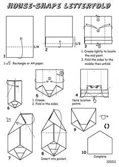 House Shape Letterfold Origami Letter, Origami Envelope, Carton Diy, Letter Folding, Origami Diagrams, Diy Rangement, Envelope Lettering, Useful Origami, Paper Boxes