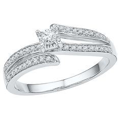 1/5 CT.T.W Round White Diamond Prong Set Promise Ring in 10K White Gold (