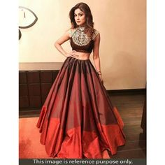 Shamita Shetty Poly Silk Printed Maroon Semi Stitched Bollywood Designer Lehenga - Jk48