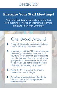 Energize Your Staff Meetings! Leadership Activities, School Leadership, Leadership Coaching, Educational Leadership, School Counseling, Educational Technology, Educational Games, Teacher Morale, Staff Morale