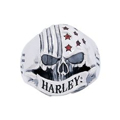 Harley-Davidson Skull Silver Ring by Thierry Martino, designed and crafted by bikers for bikers. #HDbyTM #TMsilverjewelry #TMsilverring #TMsilverskulls http://www.soulfetish.com/en/jewelry/harley-davidson/ring/hdr097