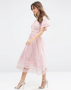 The Ladder and Guipre Lace Hem Midi Dress is the softest pink and begging for a sunny picnic - get even more style and shopping inspiration on http://jojotastic.com/shop-my-favorites/