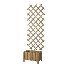 ASKHOLMEN Flower box with trellis, outdoor, gray-brown stained $49