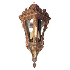 Italian Gilt Wood Lantern | From a unique collection of antique and modern lanterns at https://www.1stdibs.com/furniture/lighting/lanterns/