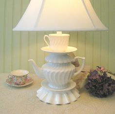 Teapot Lamp, White Teapot, Tea Cup and Saucer, Swirl Pattern Alice in Wonderland Shabby Chic Country Beach Cottage