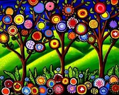 Folk Art Trees Blossoms Colorful Fun Funky Whimsical Giclee Print via Etsy