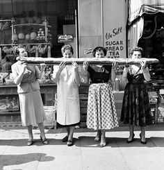 This Four women sharing a 9 foot long. Art Print is created using state of the art, industry leading Digital printers. Four women sharing a 9 foot long baguette in Soho, London. Baguette, Six Models, Nyc Photographers, Vintage London, White Picture, Vintage Beauty, Vintage Black, Vintage Art, Black