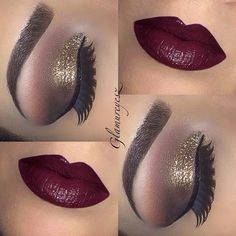 Golden Eye Makeup with Deep Berry Lips