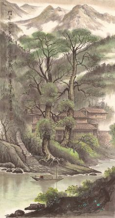 Antique Village Original Chinese Landscape by Chinese Landscape Painting, Korean Painting, Japanese Painting, Oil Painting Abstract, Chinese Painting, Landscape Art, Landscape Paintings, Asian Landscape, Chinese Artwork