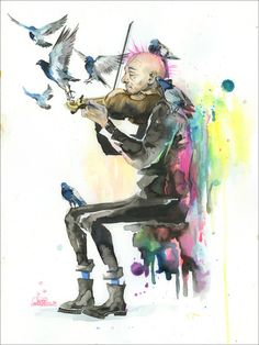 Old Man Punk and Violin Watercolor Wash Painting by Lora Zombie