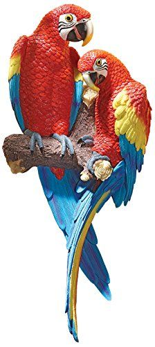 Design Toscano Tropical Scarlet Macaws Wall Sculpture � Friendly Faces