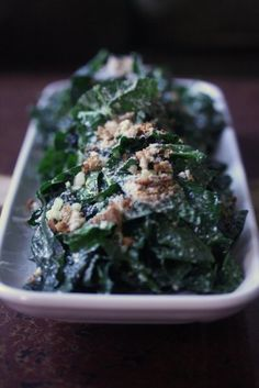 Kale Caesar Salad with Roasted Garlic Dressing - low carb if you leave out the breadcrumbs. YUM!!!!