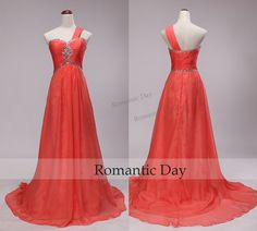 One Shoulder Rhinestone Empire Waist Chiffon Watermelon Red Long Evening Dresses/Sweep Train Prom Gown/Custom Made 0416