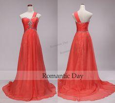 One Shoulder Rhinestone Empire Waist Chiffon Watermelon Red Long Evening Dresses/Sweep Train Prom Gown/Custom Made 0416