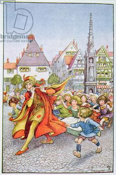 The Pied Piper of Hamelin, illustration from 'The Land of Happy Hours' by Stella Mead (colour litho)