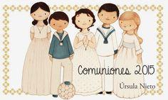 Recordatorias de Primera Comunión. Dibujos personalizados. Ursula Nieto