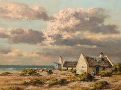 Otto Klar (SA 1908 - Oil, Coastal Landscape with Cottages & Figures Cottage Art, Coastal Cottage, Coastal Homes, Coastal Decor, Coastal Farmhouse, Cool Ideas, Art Ideas, Farm Paintings, Landscape Paintings