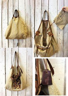 MONTECARLO BAG calf hair Handmade Italian Leather & Canvas