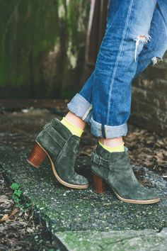 denim, green ankle boots and cute socks.