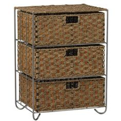Amazon.com: Household Essentials Woven Seagrass and Rattan Storage Unit Side Table with Three Drawers: Home & Kitchen