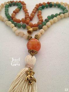 HELLO ADVENTURE Mala Beads 108 +1 Necklace made with GREEN, RED & YELLOW AVENTURINE Gemstones & beautiful Carnelian Guru bead, Hand-Knotted Silk