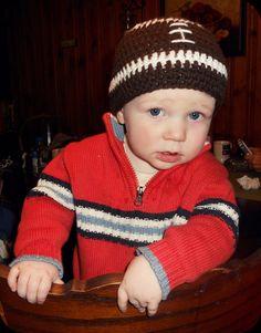 Crochet Football Hat/ Photography Prop $16.50  https://www.etsy.com/listing/115122578/crochet-football-hat-photography-prop