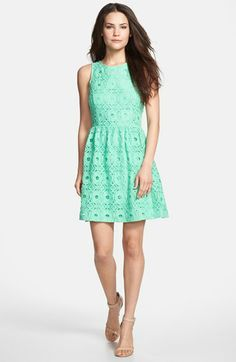 kensie Textured Lace Fit & Flare Dress available at #Nordstrom