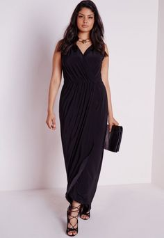 ded74059a26 Plus Size Slinky Wrap Maxi Dress Wrap Dress Formal