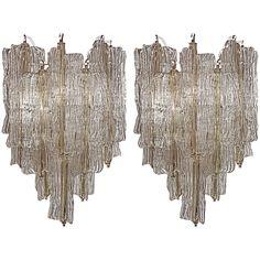 Sculptural Pair of Toni Zuccheri for Venini Sconces