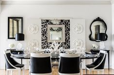 gorgeous black white & silver dining area